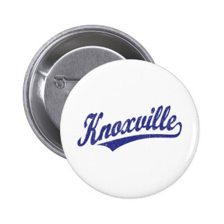 Knoxville script logo in blue distressed pinback buttons