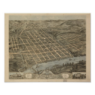 Knoxville Tennessee 1871 Antique Panoramic Map Poster