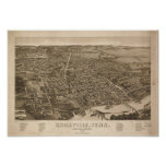 Knoxville Tennessee 1886 Antique Panoramic Map Poster