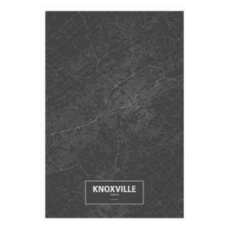 Knoxville, Tennessee (white on black) Poster