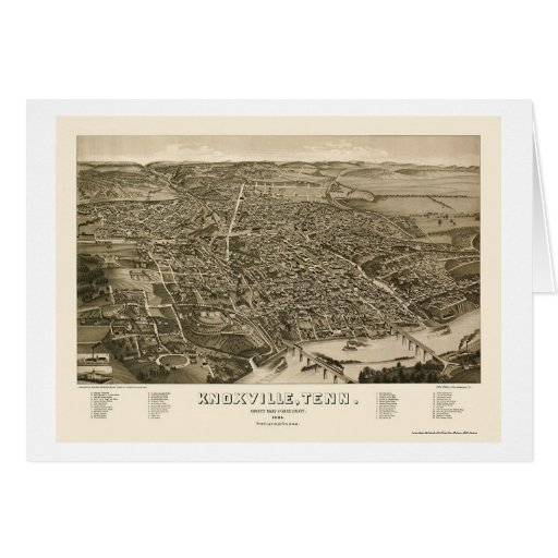 Knoxville, TN Panoramic Map - 1886 Greeting Card