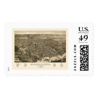 Knoxville, TN Panoramic Map - 1886 Postage