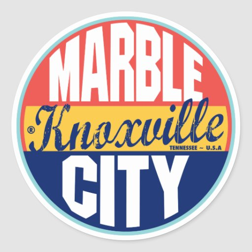 Knoxville Vintage Label Round Stickers