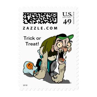 Knuckle Dragging Monster Halloween  Postage stamps