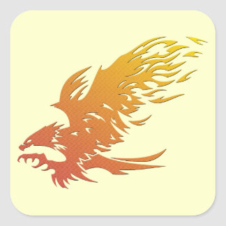 Knurled Flaming Eagle Square Stickers