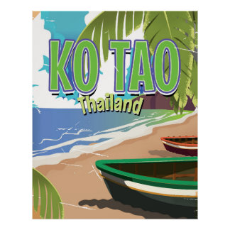 Ko Tao thailand vintage travel poster