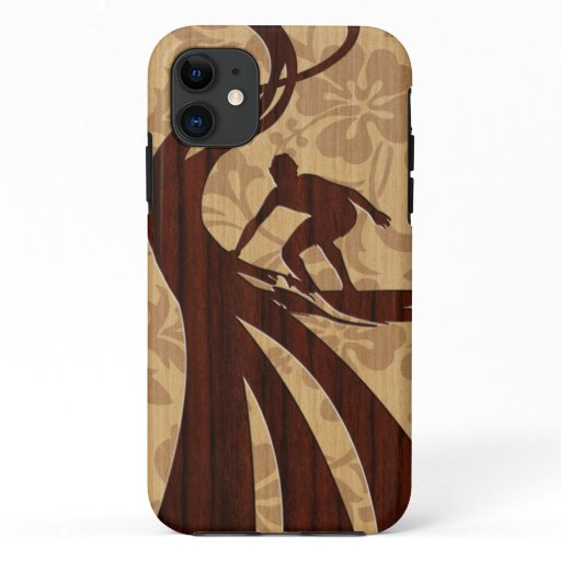 Koa Wood Surfer Faux Wood Surfboard iPhone 11 Case