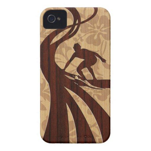 Koa Wood Surfer Surfboard iPhone 4 Cases iPhone 4 Case-Mate Case