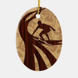 Koa Wood Surfer Surfboard Double-Sided Oval Ceramic Christmas Ornament