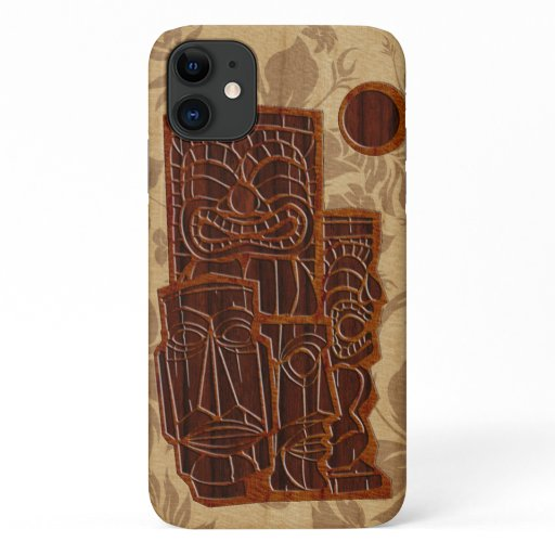 Koa Wood Tiki Sun Faux Wood Surfboard iPhone 11 Case