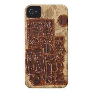 Koa Wood Tiki Sun Surfboard iPhone 4 Cases