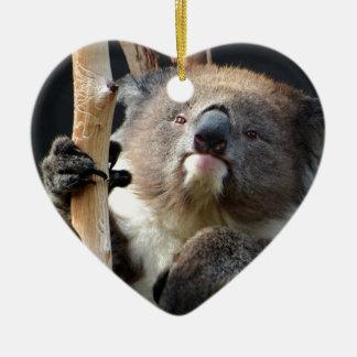 Koala 1 adorno navideño de cerámica en forma de corazón