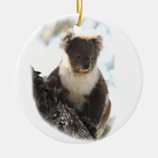 Koala 2 adorno navideño redondo de cerámica