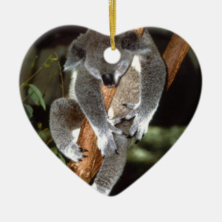 koala adorno navideño de cerámica en forma de corazón