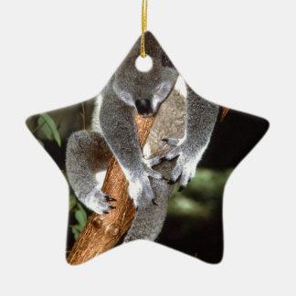 koala adorno navideño de cerámica en forma de estrella