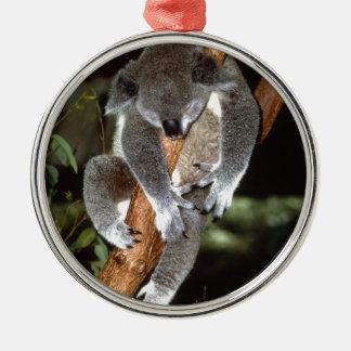 koala adorno navideño redondo de metal