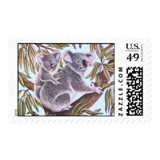 Koala and baby in Eucalyptus Tree Postage