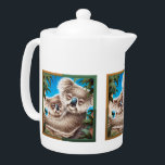 """Koala and Baby Teapot<br><div class=""""desc"""">Reproduced from an acrylic & watercolour original illustration of two koalas,  this charming image makes a great design for a teapot!</div>"""