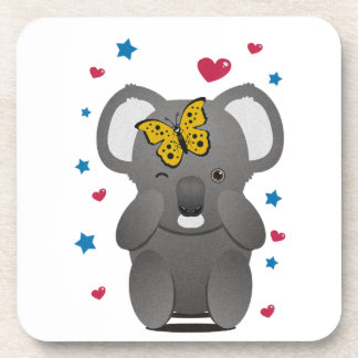 Koala And Butterfly Beverage Coaster