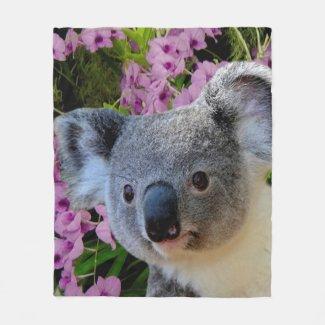 Koala and Coocktown Orchids Fleece Blanket