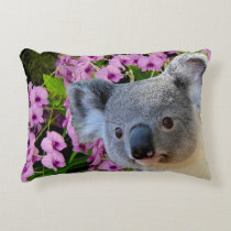 Koala and Orchids Decorative Pillow