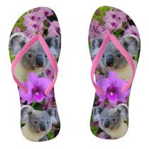 Koala and Orchids Flip Flops