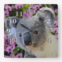 Koala and Orchids Square Wall Clock