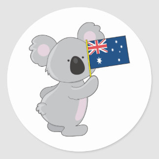 Koala Australian Flag Classic Round Sticker