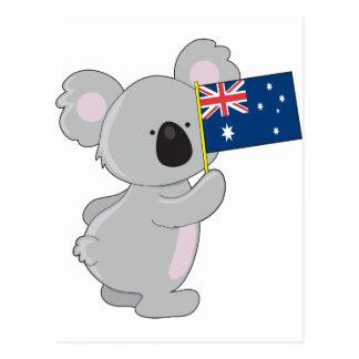 Koala Australian Flag Postcard