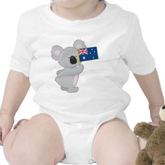 Koala Australian Flag Baby Bodysuits