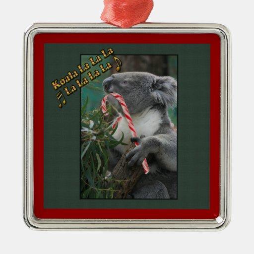 Koala australiana del navidad con el bastón de car ornamento para arbol de navidad