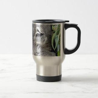 Koala australiana encantadora el dormir taza de café