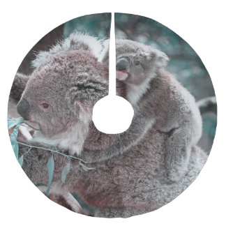 koala baby and mummy brushed polyester tree skirt
