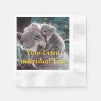 koala baby and mummy coined cocktail napkin