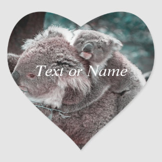 koala baby and mummy heart stickers