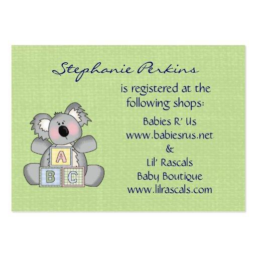 Baby Shower Gifts Off Registry ~ Koala baby registry cards business zazzle