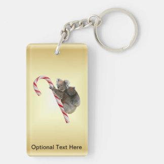 Koala Bear and Joey Cub Candy Cane Double-Sided Rectangular Acrylic Keychain