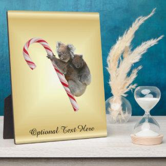 Koala Bear and Joey Cub Candy Cane Plaque