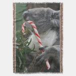 Koala Bear Australia Christmas Candy Cane Throw