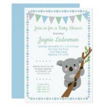 Koala Bear Baby Shower Invitation Blue Mint Boys