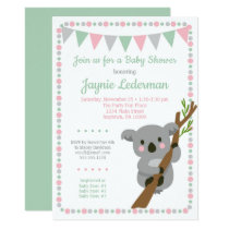 Koala Bear Baby Shower Invitation Pink Mint Girls