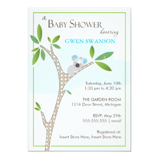 "Koala Bear - Boy Baby Shower Invitations 5"" X 7"" Invitation Card"