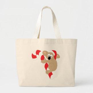 Koala Bear Candy Cane Large Tote Bag