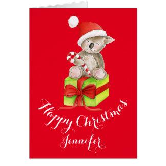 Koala bear cute watercolor art Christmas card