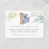 Koala Bear Eucalyptus Leaves Baby Diaper Raffle Enclosure Card