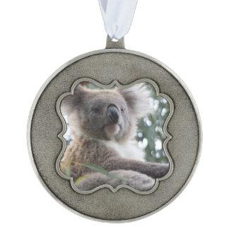 Koala Bear Facts Scalloped Pewter Ornament
