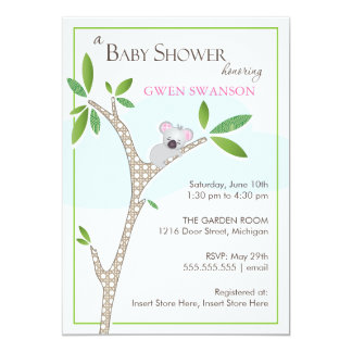Koala Bear - Girl Baby Shower Invitation
