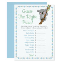 Koala Bear Guess The Right Price Baby Game Blue Invitation