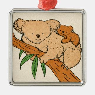 Koala Bear Mama & Baby Metal Ornament
