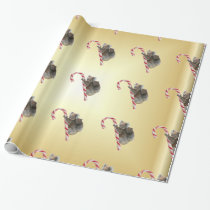 Koala Bear Mum and Joey Climbing Candy Cane Wrapping Paper